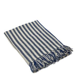 Woven Linen Candy Stripe Throw in Navy