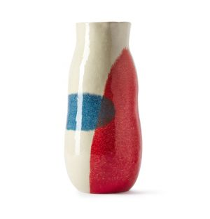 Block Print Tall Vase in Red & Blue