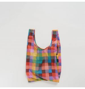 Reusable Tote Bag in Pink Madras Check