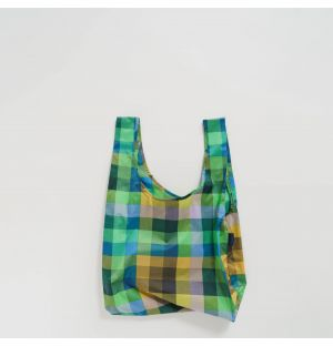 Reusable Tote Bag in Blue Madras Check