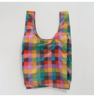 Large Reusable Tote Bag in Pink Madras Check