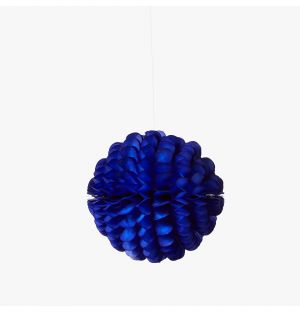 Ruffled Ball Christmas Decoration in Blue 21cm
