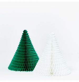 Cone Christmas Decoration in Green & White Set of 2