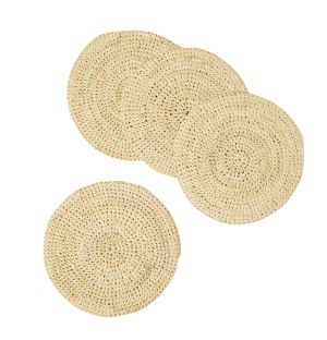 Round Coasters in Natural Set of 4