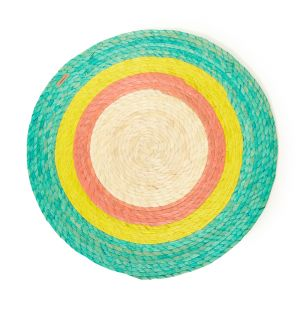 Round Placemat in Mint & Natural
