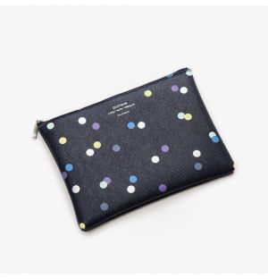 Medium Quitterie Pouch in Dotted Navy