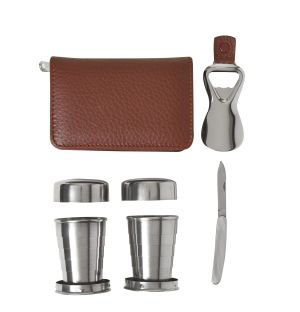 Leather Folding Cup Set in Tan