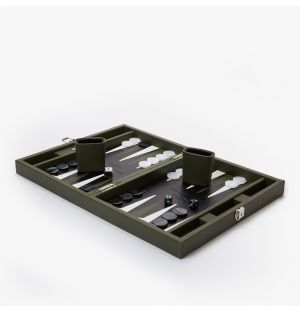 Leather Backgammon Set in Green