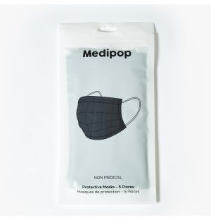 Disposable Mask in Black Pack of 5