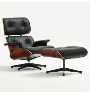 Eames Lounge Chair & Ottoman in Nero & Walnut