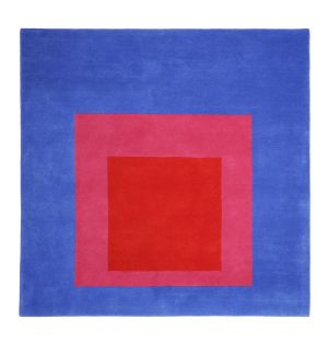'Homage to the Square' Rug in Red & Blue