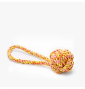 Small Rope Knot Toy in Orange & Yellow