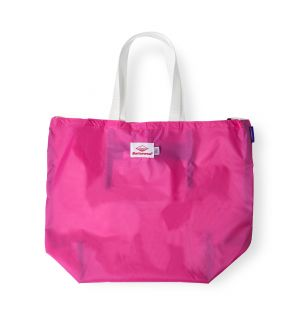 Exclusive Packable Tote Bag in Fuschia & White