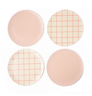 Exclusive Circles & Grid Bamboo Dinner Plates in Red Set of 4