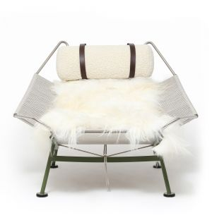 Exclusive PP225 Flag Halyard Lounge Chair in Olive