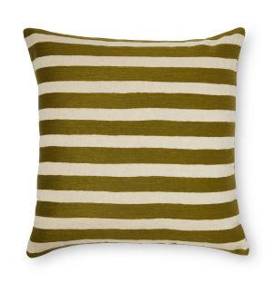 Broro Crewel Embroidered Cushion Cover in Olive Stripe 59cm x 59cm