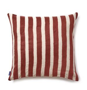 Broro Crewel Embroidered Cushion Cover in Rust Stripe 59cm x 59cm