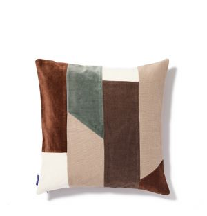 Conway Cushion Cover in Chocolate & Blue 45cm x 45cm