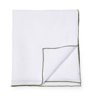 Contrast Edged Linen Napkin in White & Olive