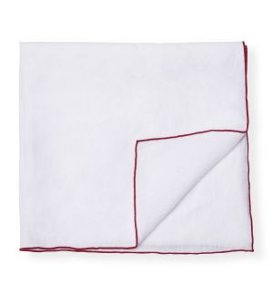 Contrast Edged Linen Napkin in White & Red