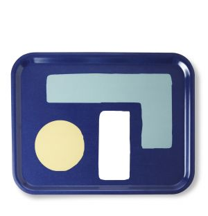 Large Abstract Shapes Tray in Midnight Blue