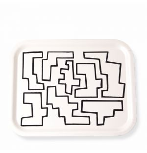 Medium Abstract Shapes Tray in Monochrome