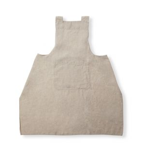 Linen Cross Back Apron in Natural