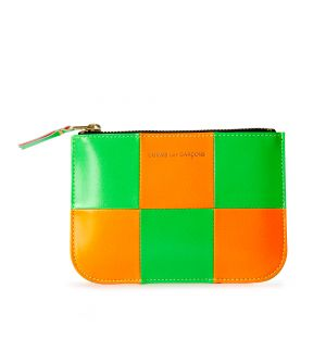 Fluo Squares Coin Purse in Green & Orange