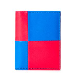 Fluo Squares Card Wallet in Blue & Pink