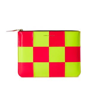 Fluo Squares Zip Pouch in Yellow & Pink