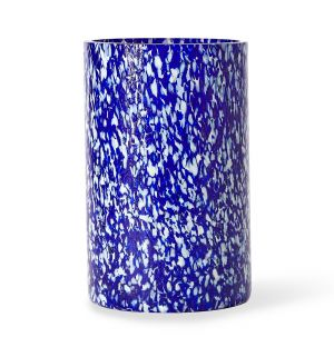 Tall Vase in Blue & Ivory