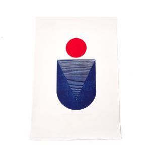 Exclusive Red Moon: Study of Balance With Circles Print