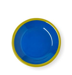 Small Plate in Electric Blue & Chartreuse