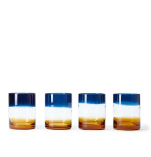 Ombre Tumblers in Blue & Amber Set of 4