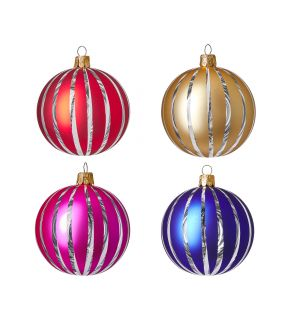 Cut Out Christmas Tree Baubles in Stripe Set of 4