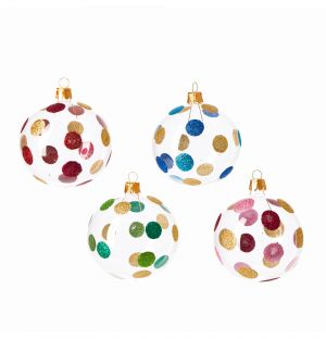 Glitter Christmas Tree Baubles in Spot Set of 4