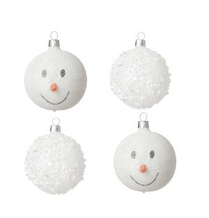Snow Christmas Tree Baubles Set of 4