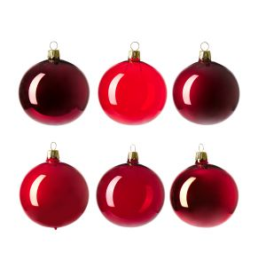 Christmas Tree Baubles in Red Set of 6