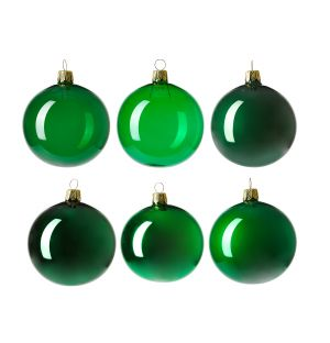 Christmas Tree Baubles in Green Set of 6