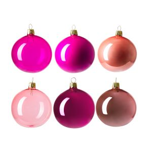 Christmas Tree Baubles in Pink Set of 6