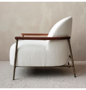Sejour Lounge Chair With Arms in Ivory and Brass