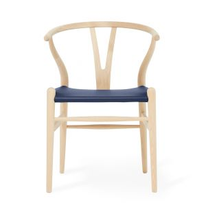 Exclusive CH24 Wishbone Chair in Blue Leather & Soaped Oak