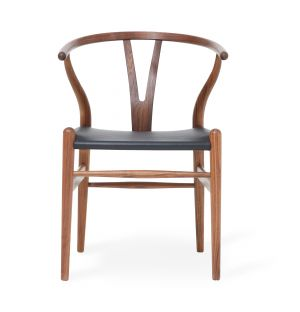 Exclusive CH24 Wishbone Chair in Black Leather & Walnut