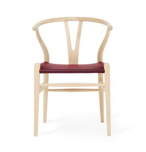 Exclusive CH24 Wishbone Chair in Red Leather & Soaped Oak
