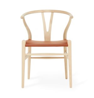 Exclusive CH24 Wishbone Chair in Tan Leather & Soaped Oak