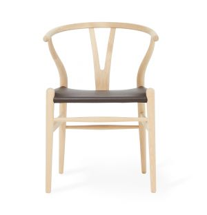 Exclusive CH24 Wishbone Chair in Brown Leather & Soaped Oak