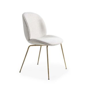 Exclusive Beetle Dining Chair in Beige Safire & Antique Brass