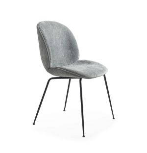 Exclusive Beetle Dining Chair in Dark Green Chenille & Black