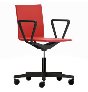 .04 Office Chair With Armrests in Bright Red & Black