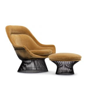 Exclusive Platner Lounge Chair & Ottoman in Miel Teddy Mohair & Bronze